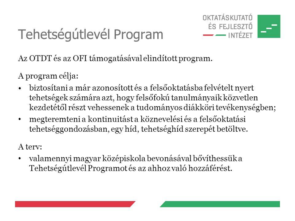 Tehetségútlevél Program Az OTDT és az OFI támogatásával elindított program. A program célja: biztosítani a már azonosított és a felsőoktatásba felvéte