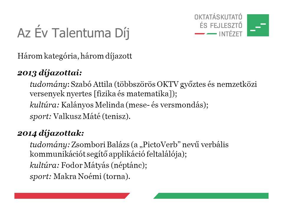 Az Év Talentuma Díj Három kategória, három díjazott 2013 díjazottai: tudomány: Szabó Attila (többszörös OKTV győztes és nemzetközi versenyek nyertes [