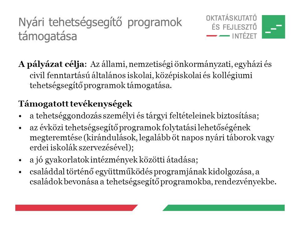 Nyári tehetségsegítő programok támogatása A pályázat célja: Az állami, nemzetiségi önkormányzati, egyházi és civil fenntartású általános iskolai, közé