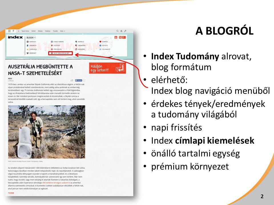 2 Index Tudomány alrovat, blog formátum elérhető: Index blog navigáció menüből érdekes tények/eredmények a tudomány világából napi frissítés Index cím