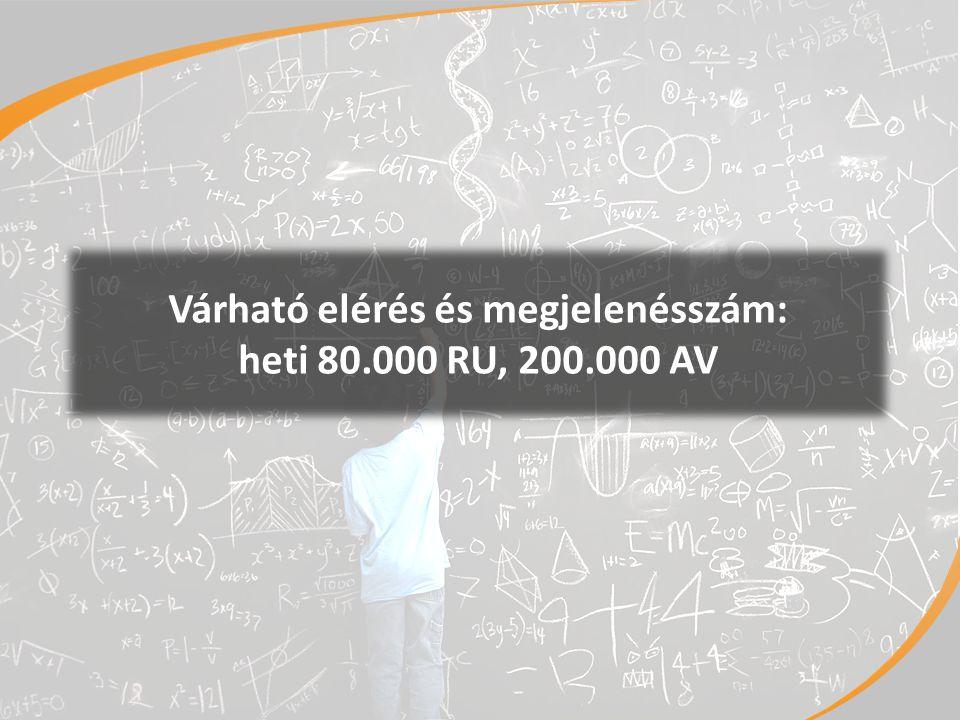 3 Várható elérés és megjelenésszám: heti 80.000 RU, 200.000 AV