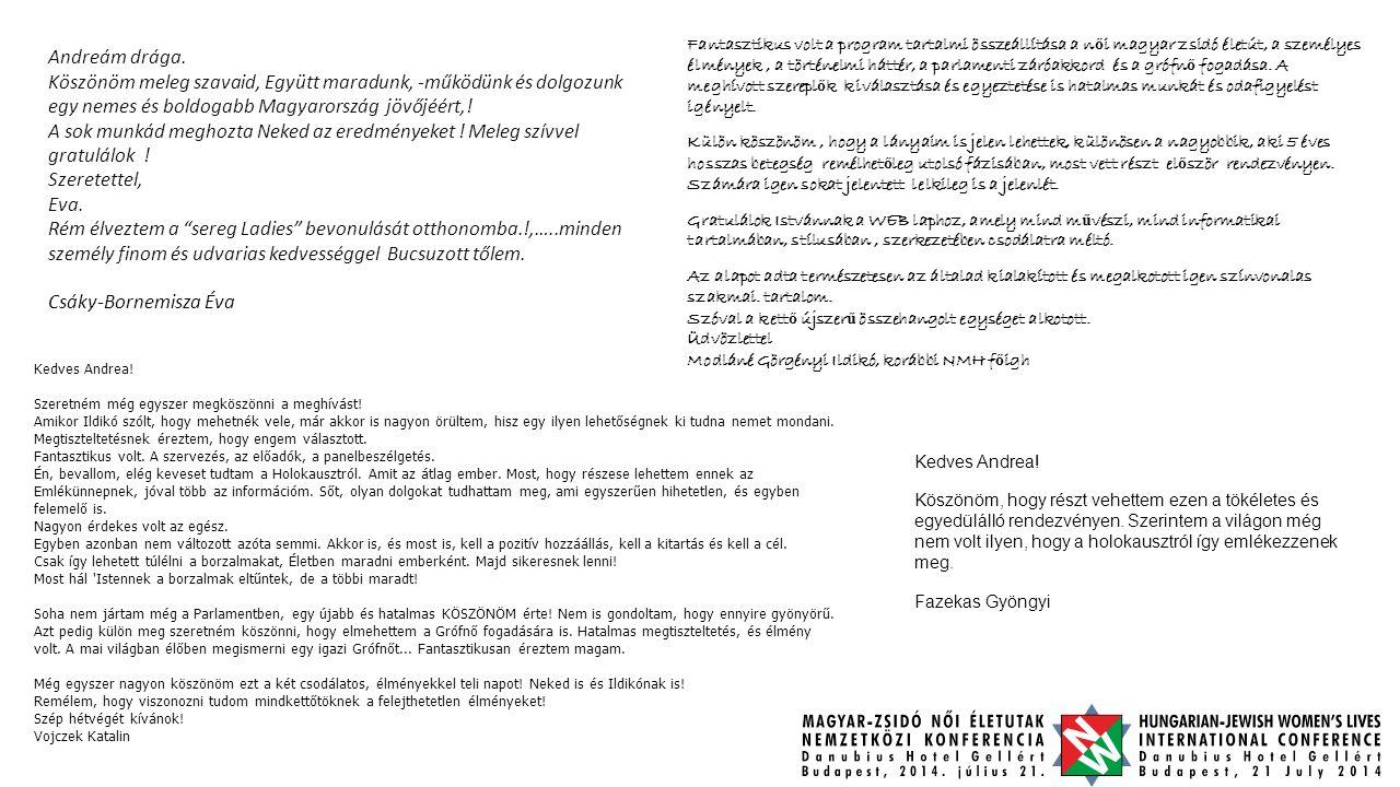 Andreám drága. Köszönöm meleg szavaid, Együtt maradunk, -működünk és dolgozunk egy nemes és boldogabb Magyarország jövőjéért,! A sok munkád meghozta N