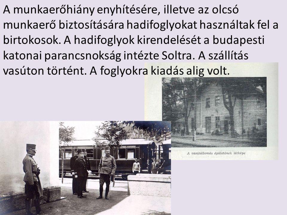 A munkaerőhiány enyhítésére, illetve az olcsó munkaerő biztosítására hadifoglyokat használtak fel a birtokosok. A hadifoglyok kirendelését a budapesti