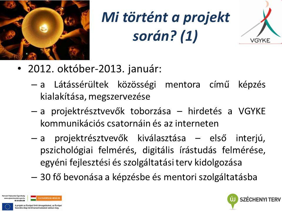 Mi történt a projekt során. (1) 2012. október-2013.