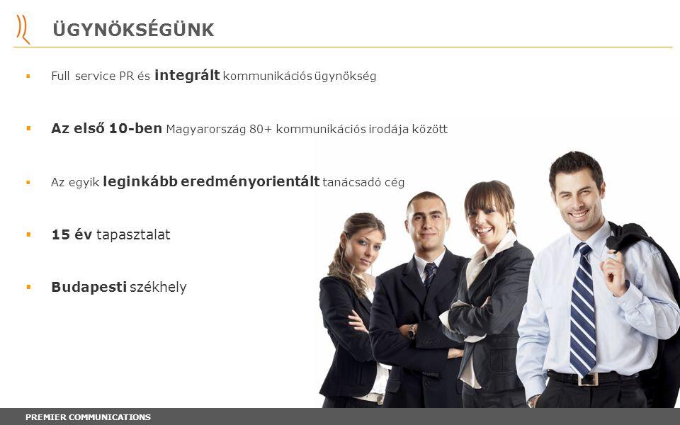 PREMIER COMMUNICATIONS ÜGYNÖKSÉGÜNK  Full service PR és integrált kommunikációs ügynökség  Az első 10-ben Magyarország 80+ kommunikációs irodája köz