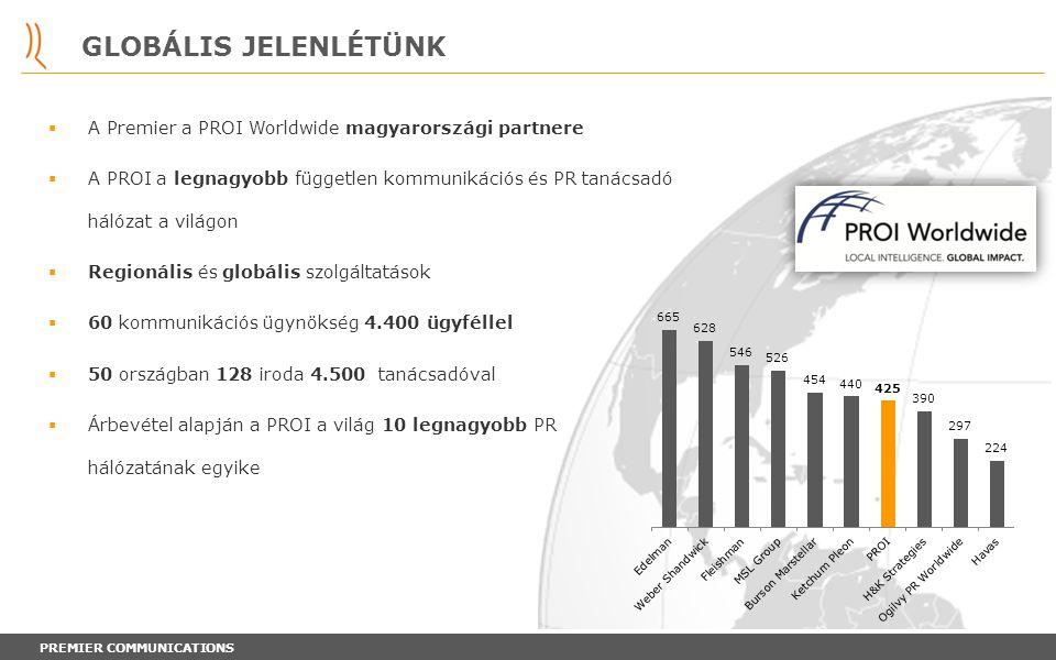 PREMIER COMMUNICATIONS GLOBÁLIS JELENLÉTÜNK  A Premier a PROI Worldwide magyarországi partnere  A PROI a legnagyobb független kommunikációs és PR ta