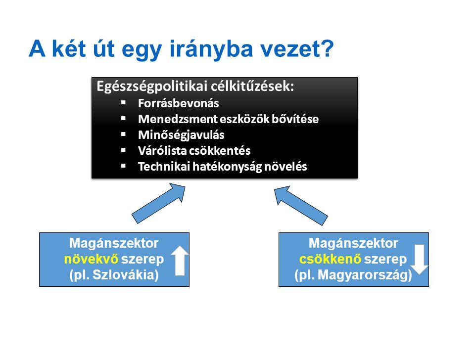 A két út egy irányba vezet? 16 Egészségpolitikai célkitűzések:  Forrásbevonás  Menedzsment eszközök bővítése  Minőségjavulás  Várólista csökkentés