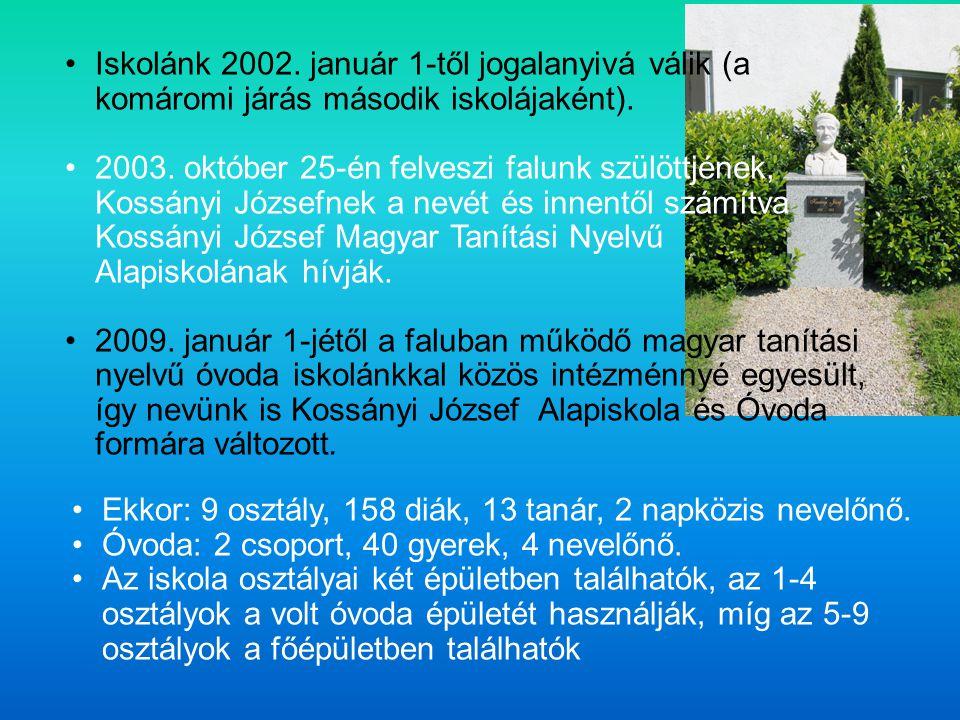Iskolánk 2002. január 1-től jogalanyivá válik (a komáromi járás második iskolájaként). 2003. október 25-én felveszi falunk szülöttjének, Kossányi Józs