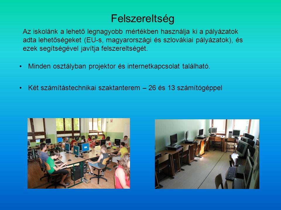 Minden osztályban projektor és internetkapcsolat található. Felszereltség Két számítástechnikai szaktanterem – 26 és 13 számítógéppel Az iskolánk a le