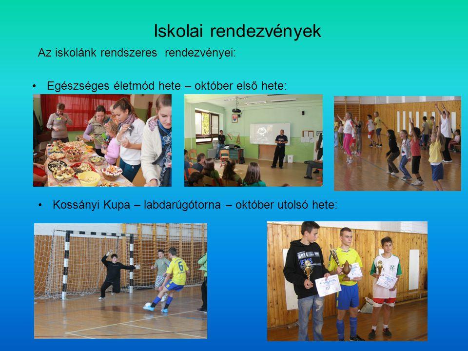 Iskolai rendezvények Az iskolánk rendszeres rendezvényei: Egészséges életmód hete – október első hete: Kossányi Kupa – labdarúgótorna – október utolsó