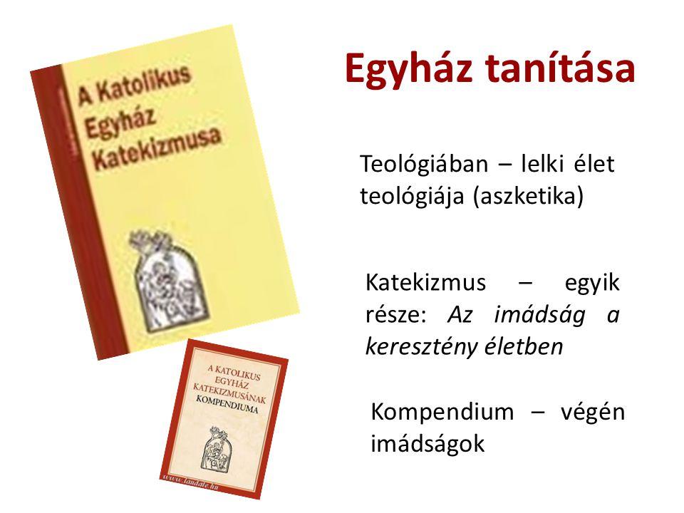 Egyház tanítása Teológiában – lelki élet teológiája (aszketika) Katekizmus – egyik része: Az imádság a keresztény életben Kompendium – végén imádságok