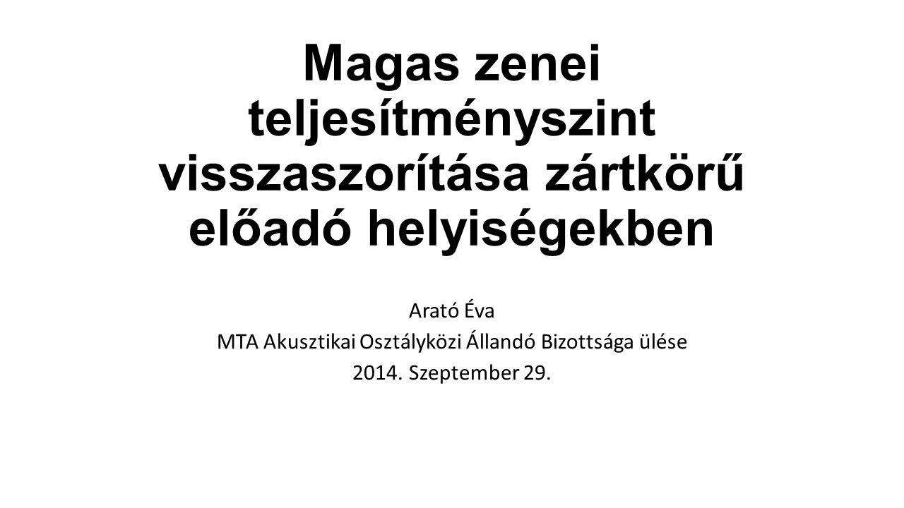 Magas zenei teljesítményszint visszaszorítása zártkörű előadó helyiségekben Arató Éva MTA Akusztikai Osztályközi Állandó Bizottsága ülése 2014. Szepte