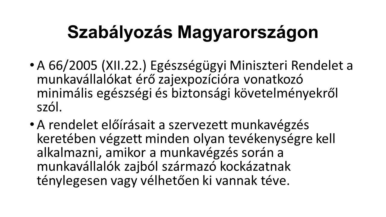 Szabályozás Magyarországon A rendelet pontosan meghatározza, hogy mekkora zajexpozíció érheti a dolgozókat, milyen zajterhelés mellett milyen szükséges munkavédelmi lépéseket kell tennie a munkáltatónak: zajcsökkentési intézkedés, egyéni hallásvédő eszközök, munkavégzést megszakító szünetek beiktatása.