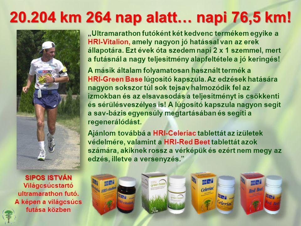 """20.204 km 264 nap alatt… napi 76,5 km! """"Ultramarathon futóként két kedvenc termékem egyike a HRI-Vitalion, amely nagyon jó hatással van az erek állapo"""