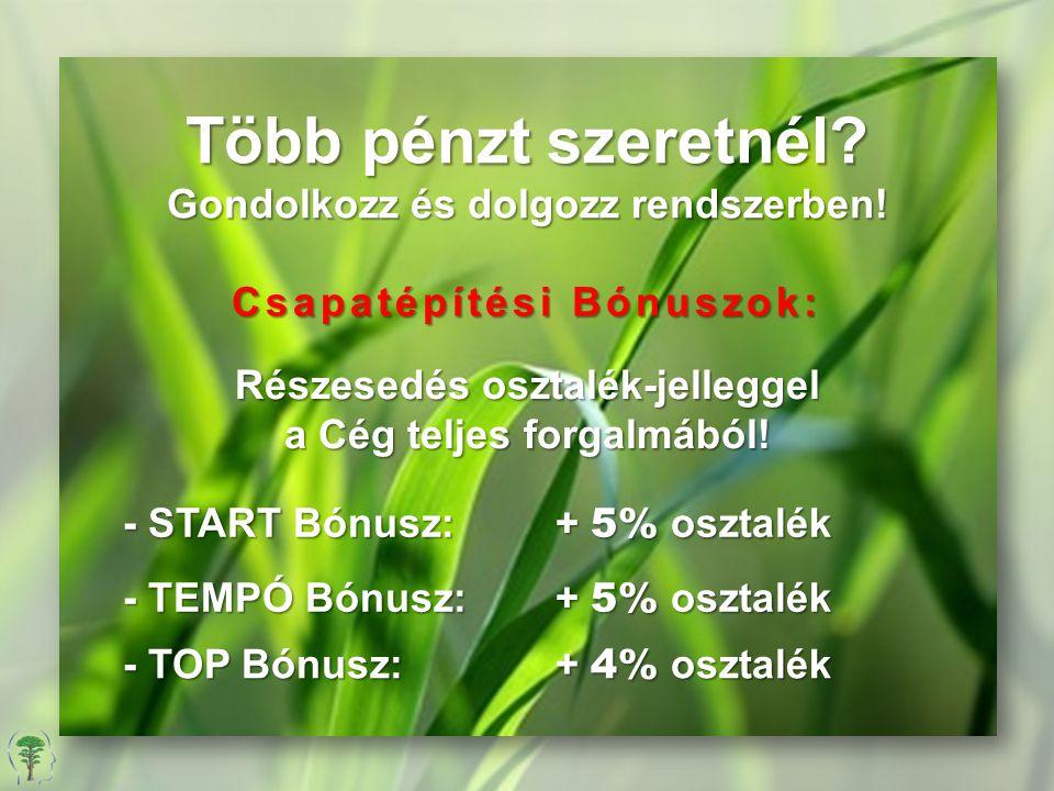 Több pénzt szeretnél? Gondolkozz és dolgozz rendszerben! Csapatépítési Bónuszok: Részesedés osztalék-jelleggel a Cég teljes forgalmából! - START Bónus