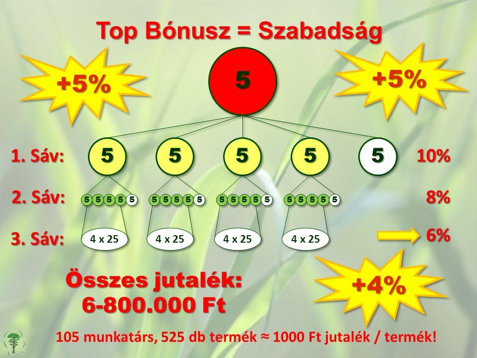+4%+4% Top Bónusz = Szabadság 1.Sáv: 10% 5 +5%+5% +5%+5% 2.
