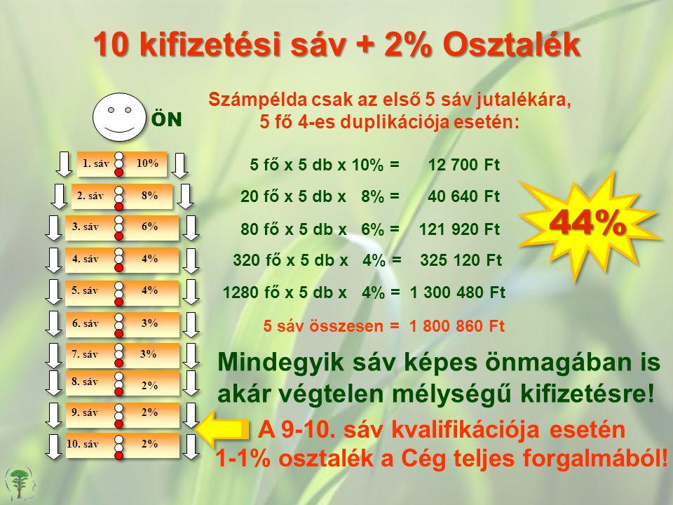 44%44% 10 kifizetési sáv + 2% Osztalék ÖN 1.sáv10% 2.