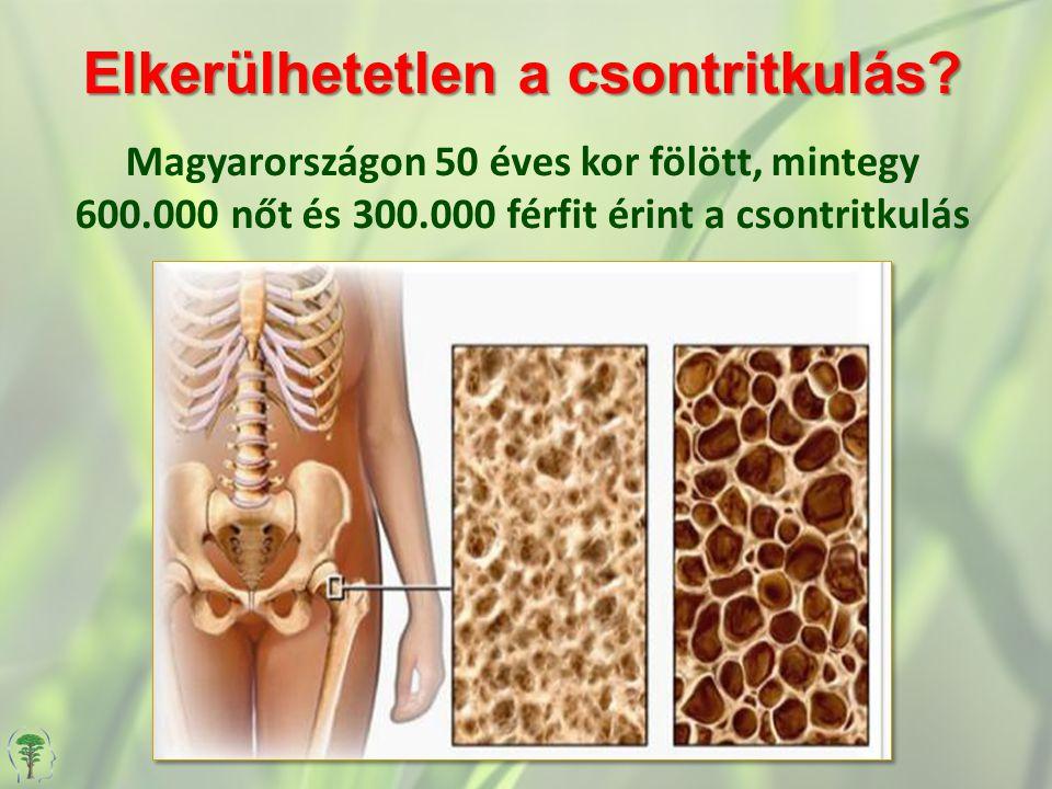 Elkerülhetetlen a csontritkulás? Elkerülhetetlen a csontritkulás? Magyarországon 50 éves kor fölött, mintegy 600.000 nőt és 300.000 férfit érint a cso