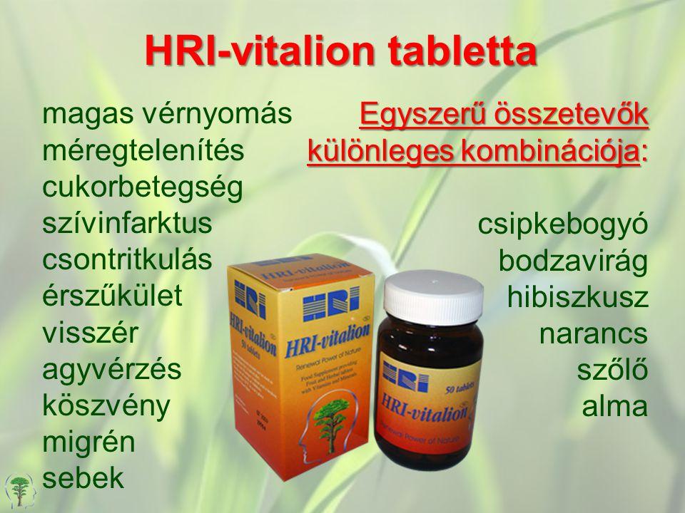 HRI-vitalion tabletta magas vérnyomás méregtelenítés cukorbetegség szívinfarktus csontritkulás érszűkület visszér agyvérzés köszvény migrén sebek csipkebogyó bodzavirág hibiszkusz narancs szőlő alma Egyszerű összetevők különleges kombinációja:
