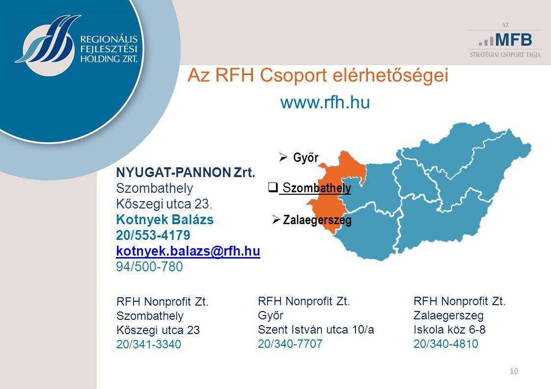 Az RFH Csoport elérhetőségei 10 www.rfh.hu  Zalaegerszeg  Győr  S zombathely NYUGAT-PANNON Zrt. Szombathely Kőszegi utca 23. Kotnyek Balázs 20/553-