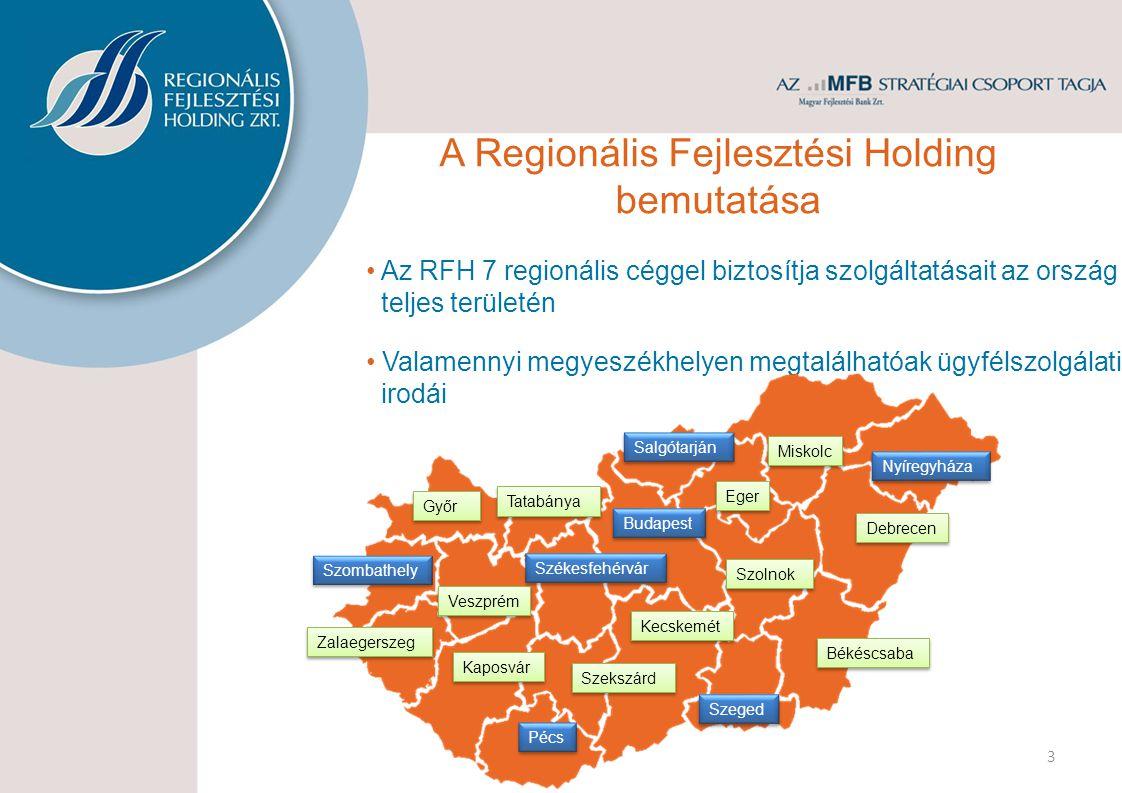 4 Országos hatáskörű finanszírozó céggel áll partnerei rendelkezésére Megyei hálózata az MFB csoport cégeinek és az RFH más partnereinek termékeit is elérhetővé teszi.