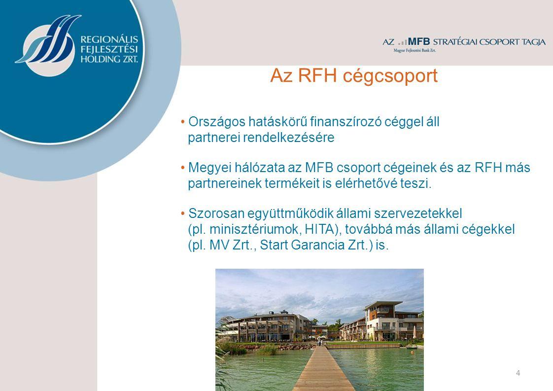 4 Országos hatáskörű finanszírozó céggel áll partnerei rendelkezésére Megyei hálózata az MFB csoport cégeinek és az RFH más partnereinek termékeit is