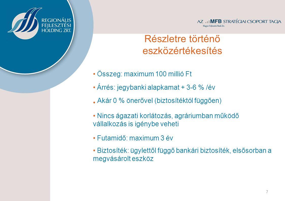 KKV-k és önkormányzatok számára is biztosított Összeg: 100 millió forintig Kamat: mindenkori jegybanki alapkamat +3-6% Futamidő: a kölcsönszerződés megkötésétől a támogatás lehívásáig, de legfeljebb 3 év Saját erő: nem szükséges 8 Biztosíték: támogatás engedményezés és/vagy banki gyakorlat szerint Támogatás megelőlegező kölcsön