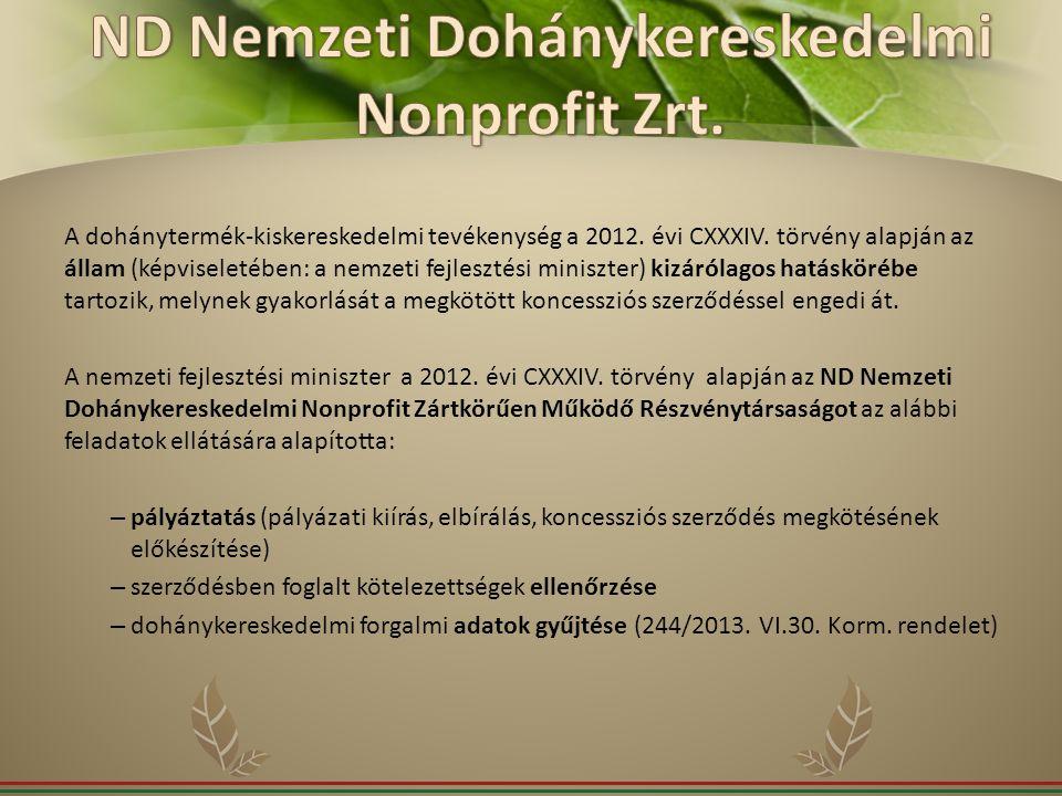 A dohánytermék-kiskereskedelmi tevékenység a 2012. évi CXXXIV. törvény alapján az állam (képviseletében: a nemzeti fejlesztési miniszter) kizárólagos