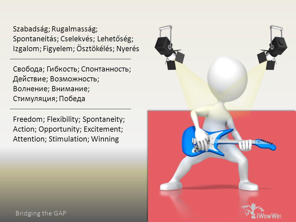 Bridging the GAP Freedom; Flexibility; Spontaneity; Action; Opportunity; Excitement; Attention; Stimulation; Winning Свобода; Гибкость; Спонтанность; Действие; Возможность; Волнение; Внимание; Стимуляция; Победа Szabadság; Rugalmasság; Spontaneitás; Cselekvés; Lehetőség; Izgalom; Figyelem; Ösztökélés; Nyerés
