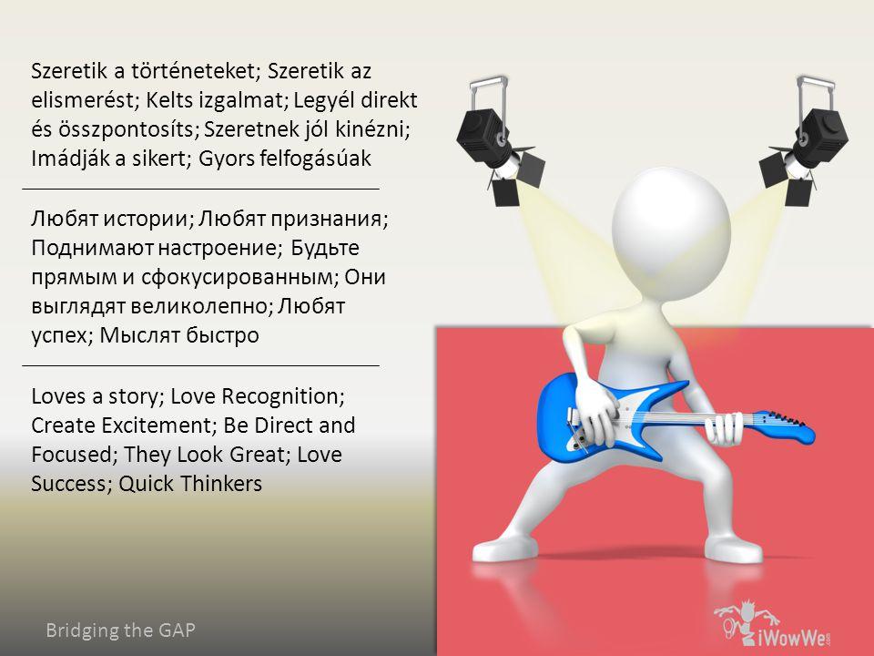 Bridging the GAP Loves a story; Love Recognition; Create Excitement; Be Direct and Focused; They Look Great; Love Success; Quick Thinkers Любят истории; Любят признания; Поднимают настроение; Будьте прямым и сфокусированным; Они выглядят великолепно; Любят успех; Мыслят быстро Szeretik a történeteket; Szeretik az elismerést; Kelts izgalmat; Legyél direkt és összpontosíts; Szeretnek jól kinézni; Imádják a sikert; Gyors felfogásúak