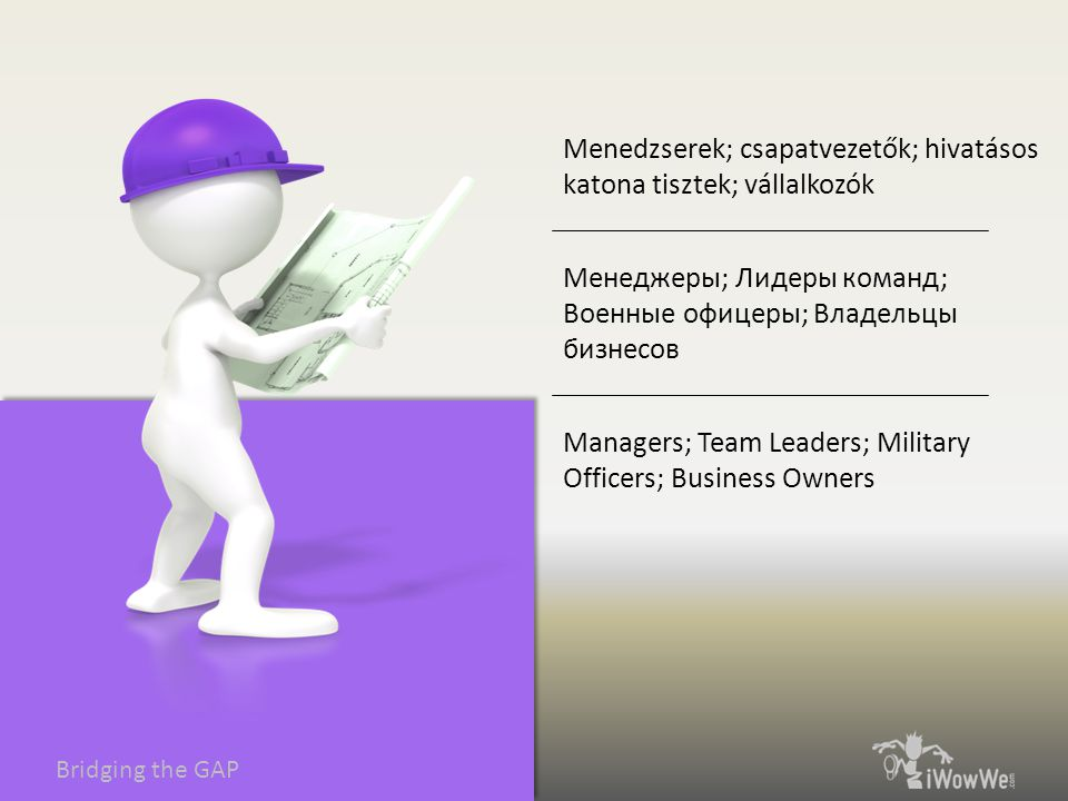 Bridging the GAP Managers; Team Leaders; Military Officers; Business Owners Менеджеры; Лидеры команд; Военные офицеры; Владельцы бизнесов Menedzserek; csapatvezetők; hivatásos katona tisztek; vállalkozók