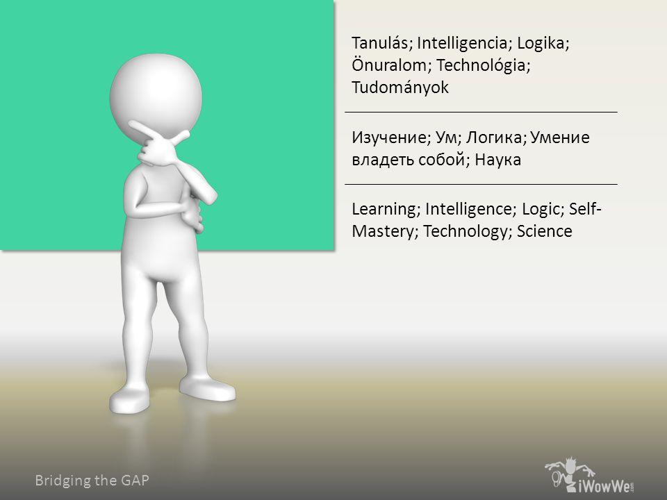 Bridging the GAP Learning; Intelligence; Logic; Self- Mastery; Technology; Science Изучение; Ум; Логика; Умение владеть собой; Наука Tanulás; Intelligencia; Logika; Önuralom; Technológia; Tudományok
