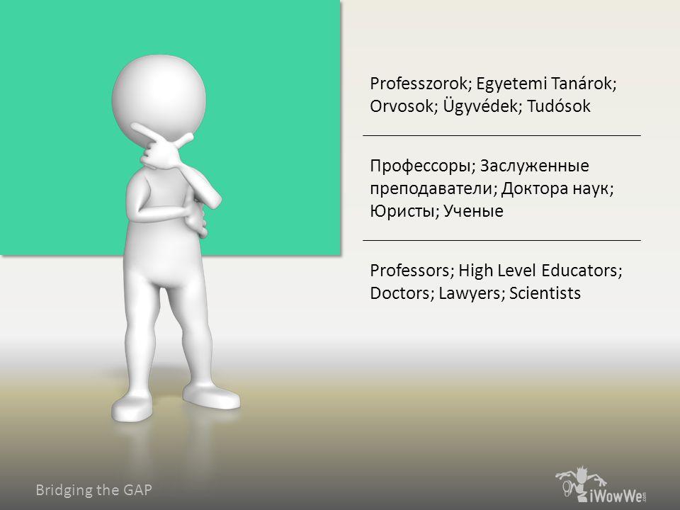 Bridging the GAP Professors; High Level Educators; Doctors; Lawyers; Scientists Профессоры; Заслуженные преподаватели; Доктора наук; Юристы; Ученые Pr