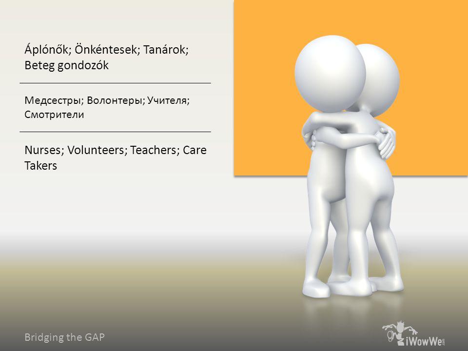 Bridging the GAP Nurses; Volunteers; Teachers; Care Takers Медсестры; Волонтеры; Учителя; Смотрители Áplónők; Önkéntesek; Tanárok; Beteg gondozók