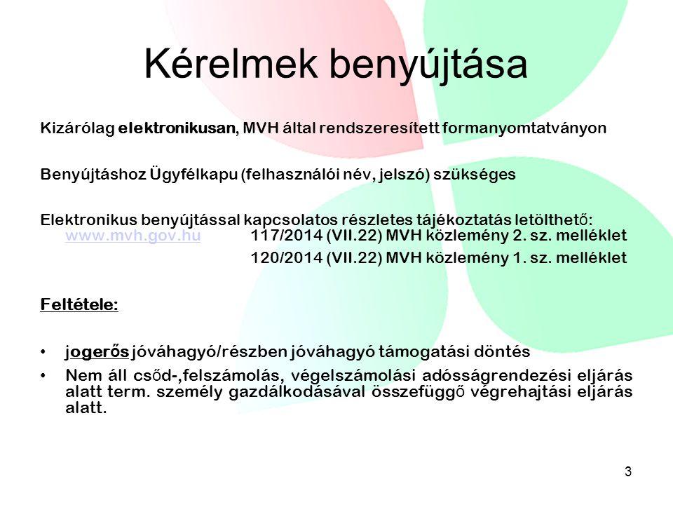 Kérelmek benyújtása Kizárólag elektronikusan, MVH által rendszeresített formanyomtatványon Benyújtáshoz Ügyfélkapu (felhasználói név, jelszó) szükséges Elektronikus benyújtással kapcsolatos részletes tájékoztatás letölthet ő : www.mvh.gov.hu 117/2014 (VII.22) MVH közlemény 2.