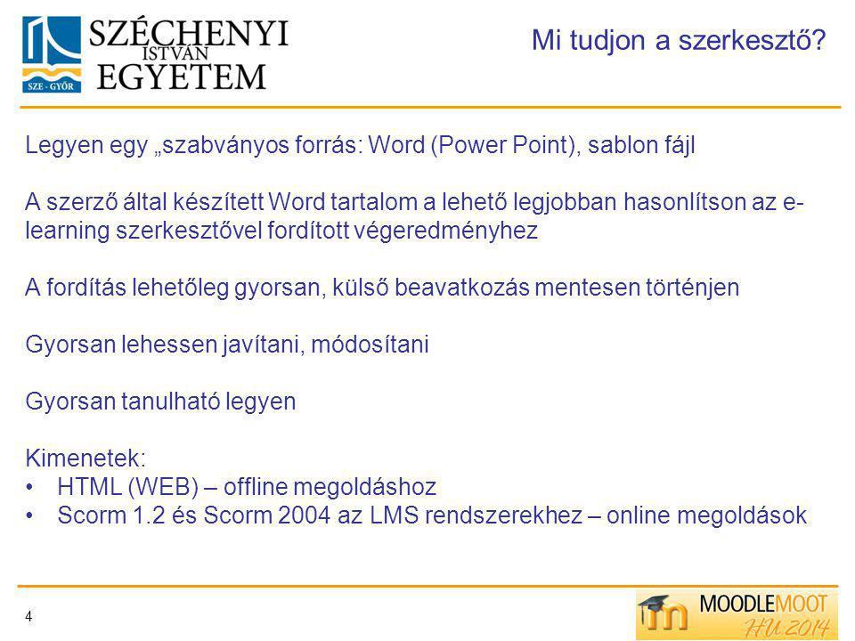 """4 Mi tudjon a szerkesztő? Legyen egy """"szabványos forrás: Word (Power Point), sablon fájl A szerző által készített Word tartalom a lehető legjobban has"""