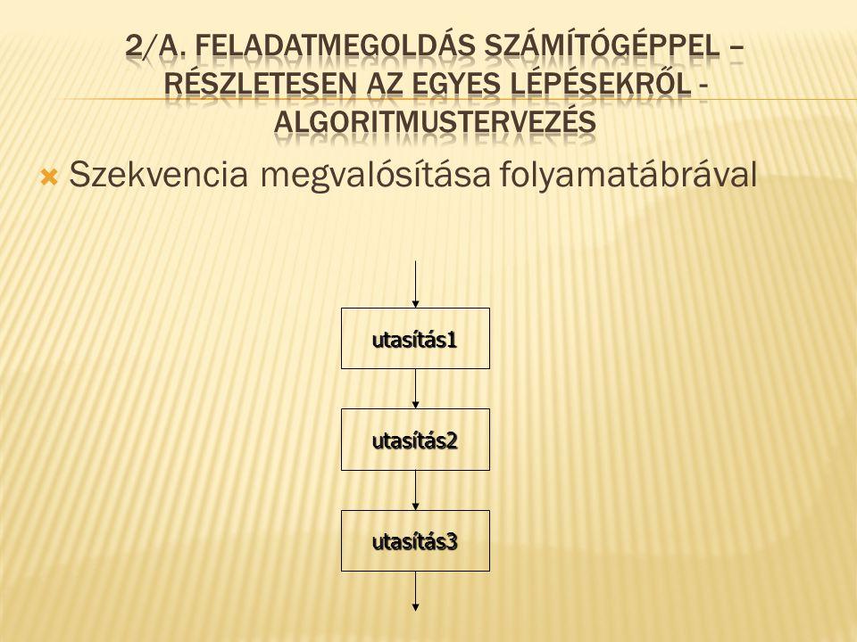  Szekvencia megvalósítása folyamatábrával utasítás1 utasítás2 utasítás3