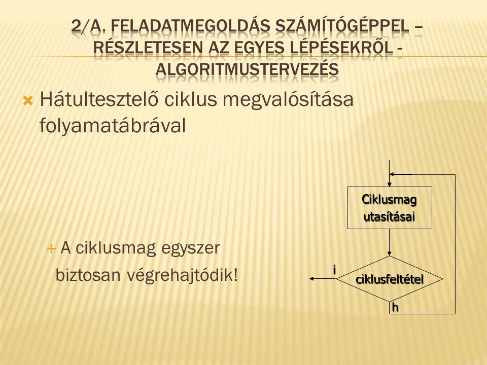  Hátultesztelő ciklus megvalósítása folyamatábrával  A ciklusmag egyszer biztosan végrehajtódik! i ciklusfeltétel Ciklusmagutasításai h