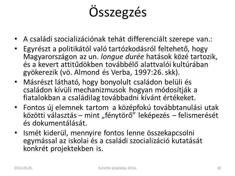 Összegzés A családi szocializációnak tehát differenciált szerepe van.: Egyrészt a politikától való tartózkodásról feltehető, hogy Magyarországon az un.