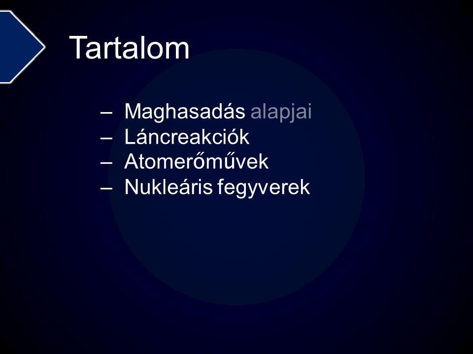 Tartalom –Maghasadás alapjai –Láncreakciók –Atomer ő m ű vek –Nukleáris fegyverek