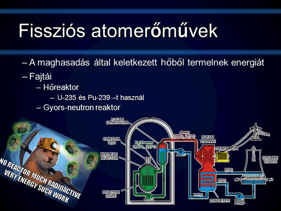 –A maghasadás által keletkezett h ő b ő l termelnek energiát –Fajtái –H ő reaktor –U-235 és Pu-239 –t használ –Gyors-neutron reaktor