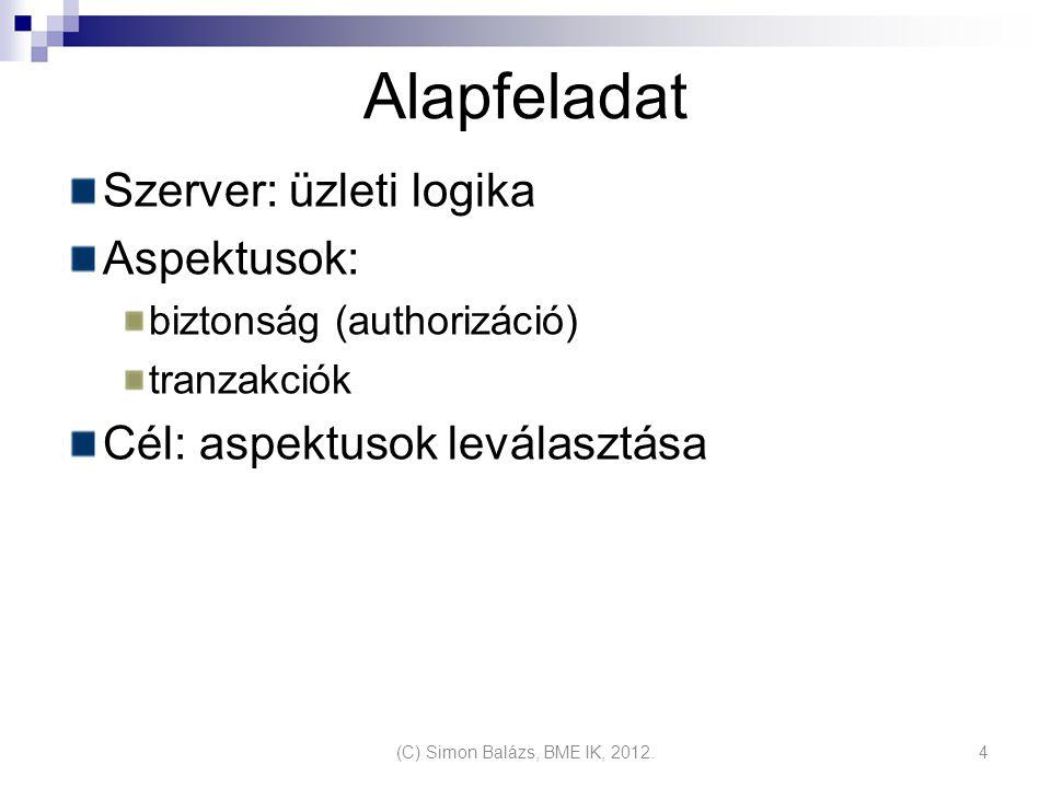 Alapfeladat Szerver: üzleti logika Aspektusok: biztonság (authorizáció) tranzakciók Cél: aspektusok leválasztása (C) Simon Balázs, BME IK, 2012.4