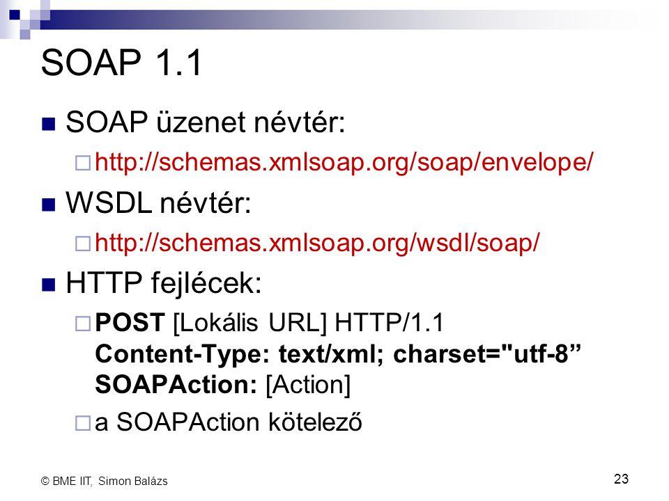 SOAP 1.1 SOAP üzenet névtér:  http://schemas.xmlsoap.org/soap/envelope/ WSDL névtér:  http://schemas.xmlsoap.org/wsdl/soap/ HTTP fejlécek:  POST [L