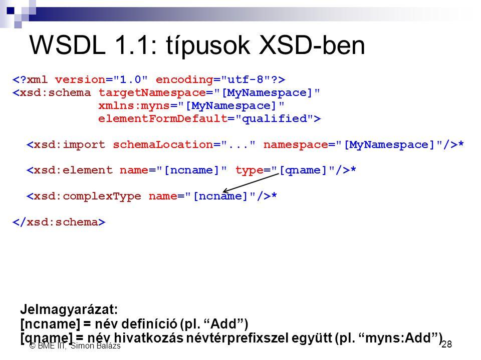 WSDL 1.1: típusok XSD-ben 28 <xsd:schema targetNamespace=