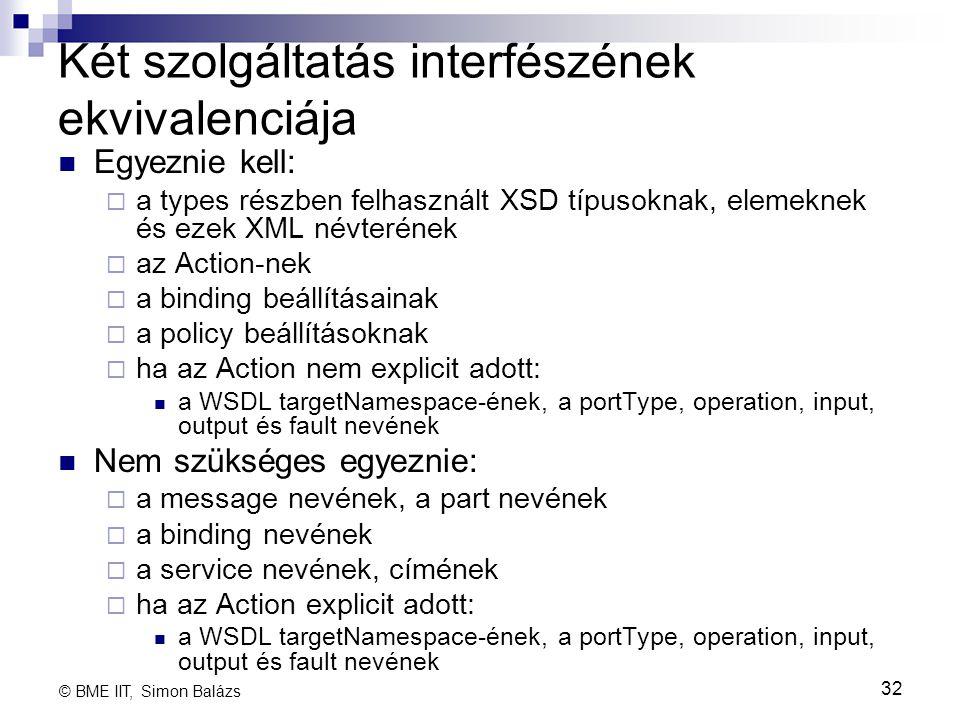 Két szolgáltatás interfészének ekvivalenciája Egyeznie kell:  a types részben felhasznált XSD típusoknak, elemeknek és ezek XML névterének  az Actio