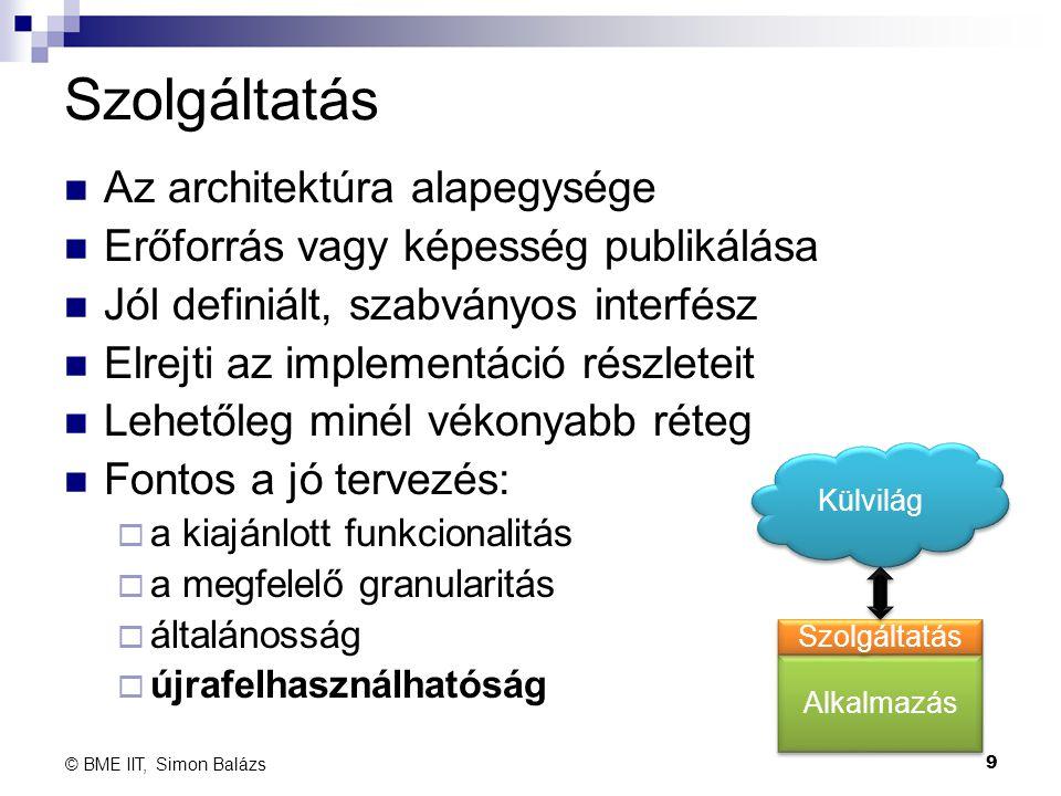 Szolgáltatás Az architektúra alapegysége Erőforrás vagy képesség publikálása Jól definiált, szabványos interfész Elrejti az implementáció részleteit L