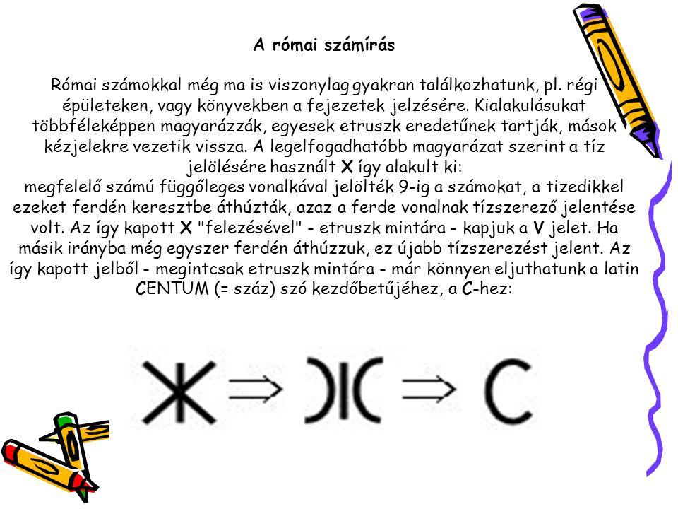A római számírás Római számokkal még ma is viszonylag gyakran találkozhatunk, pl.
