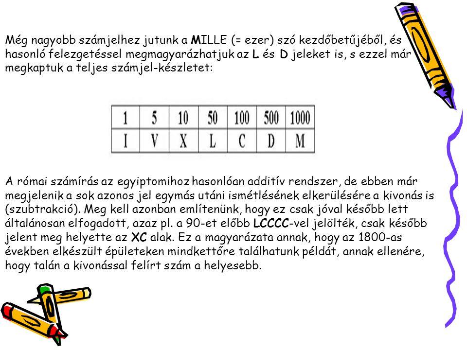 Még nagyobb számjelhez jutunk a MILLE (= ezer) szó kezdőbetűjéből, és hasonló felezgetéssel megmagyarázhatjuk az L és D jeleket is, s ezzel már megkaptuk a teljes számjel-készletet: A római számírás az egyiptomihoz hasonlóan additív rendszer, de ebben már megjelenik a sok azonos jel egymás utáni ismétlésének elkerülésére a kivonás is (szubtrakció).