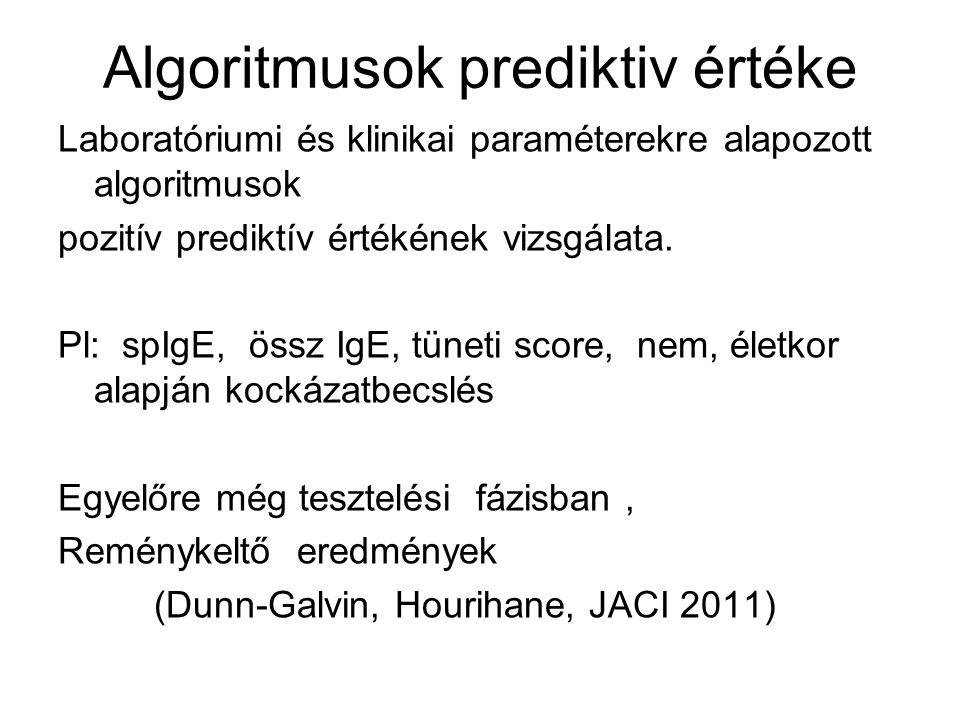 Algoritmusok prediktiv értéke Laboratóriumi és klinikai paraméterekre alapozott algoritmusok pozitív prediktív értékének vizsgálata. Pl: spIgE, össz I