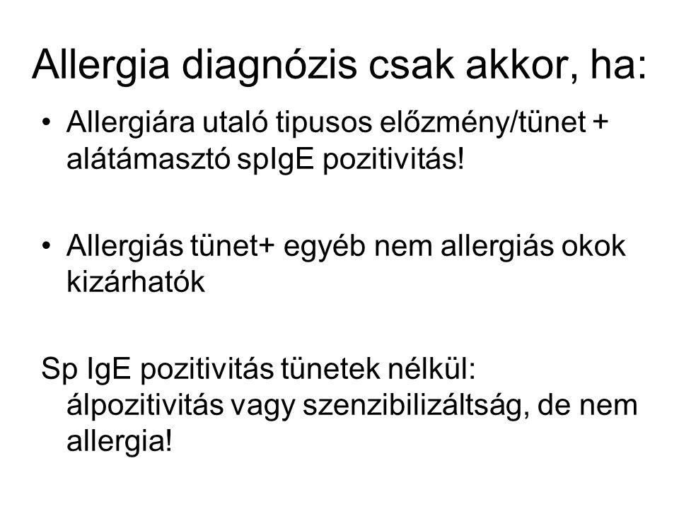 Allergia diagnózis csak akkor, ha: Allergiára utaló tipusos előzmény/tünet + alátámasztó spIgE pozitivitás! Allergiás tünet+ egyéb nem allergiás okok